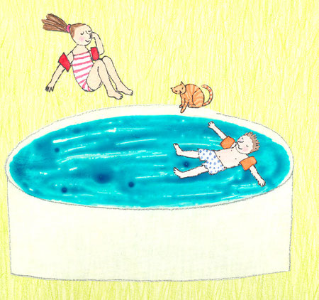 Lola Renn Illustration, Kinder im Pool, Kinderbuch