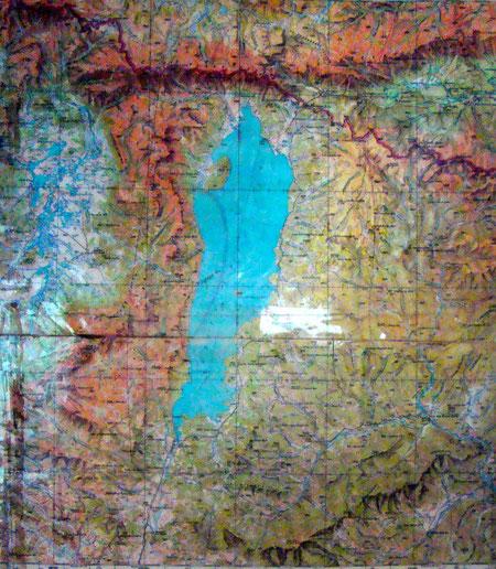 Carte géographique en relief du lac Khuvsgul (Khovsgol)