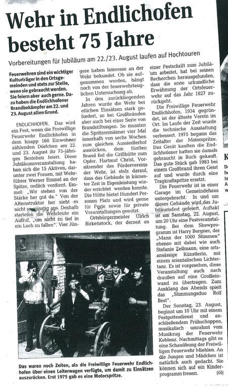 Pressemitteilung Rhein-Lahn-Zeitung 26.06.09