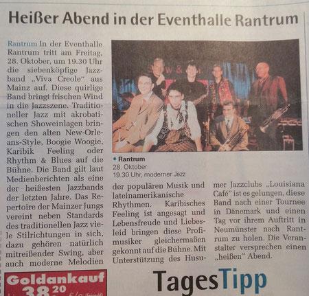 Wochenschau Nordfriesland vom 23.10.2011. Wir hatten das Konzert von VIVA CREOLE in Rantrum organisiert. Leider war der Besuch enttäuschend.