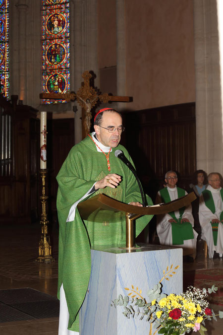 Monseigneur Barbarin en visite pastorale, St-Pierre à Anse, mars 2014