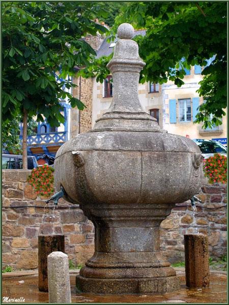 """La fontaine au centre de la ville avec en fond à gauche la """"Tour Eiffel"""" (Place Le Trocque), Pontrieux, Côte d'Armor (22)"""