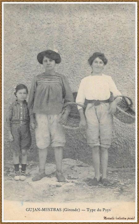Gujan-Mestras autrefois : Parqueuses et enfant, Bassin d'Arcachon (carte postale, collection privée)