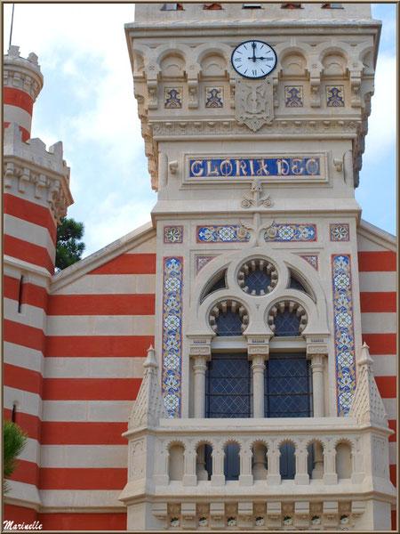 Chapelle Algérienne, détail de la façade, clocher et balcon,  Village de L'Herbe, Bassin d'Arcachon (33)