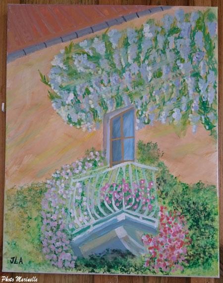"""JLA Artiste Peintre - """"Balcon fleuri"""" 038 - Peinture sur toile"""
