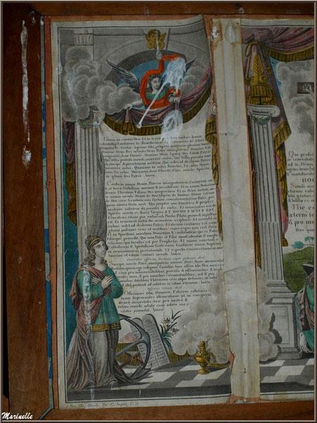 Page d'une bible ancienne à l'autel de la Vierge, église Saint Pierre de Mons à Belin-Beliet (Gironde)