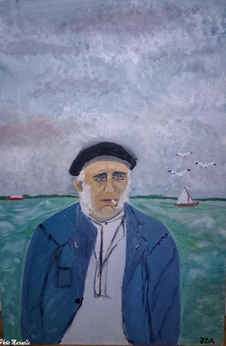 """JLA Artiste Peintre - """"Vieux marin du Bassin d'Arcachon"""" 046 - Peinture sur toile"""