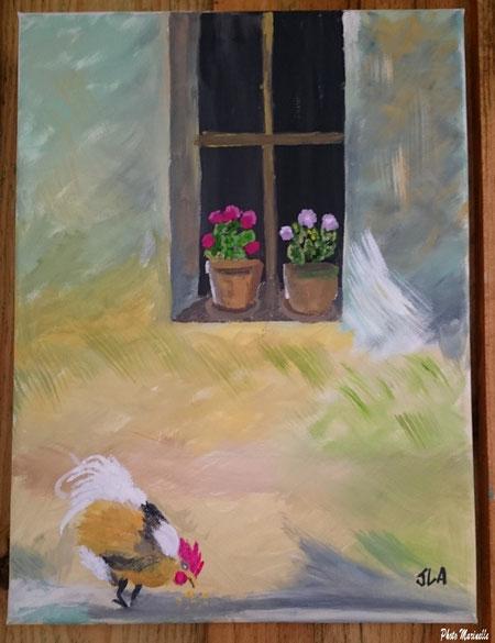"""JLA Artiste Peintre - """"Fenêtre fleurie au coq"""" 035 - Peinture sur toile"""