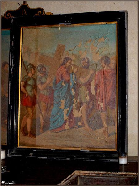 """Tableau représentant """"Le Christ portant la croix"""" (tableau IV du Chemin de Croix), église Saint Pierre de Mons à Belin-Beliet (Gironde)"""