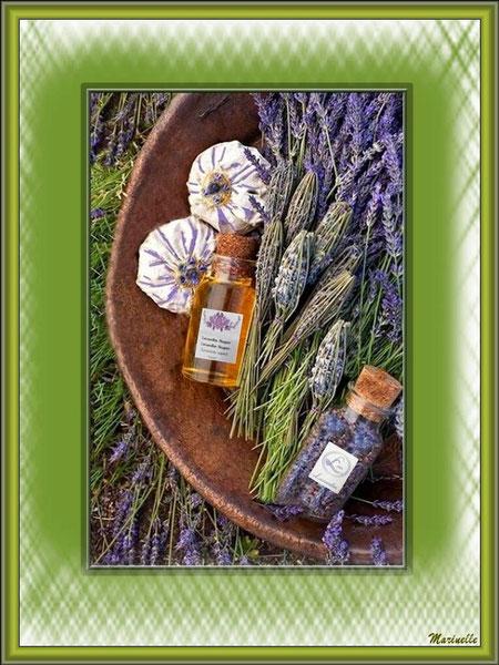 Lavande et quelques produits dérivés en cosmétique (savon, huile essentielle...)