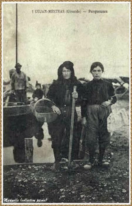 Gujan-Mestras autrefois : Parqueuses, Bassin d'Arcachon (carte postale, collection privée)