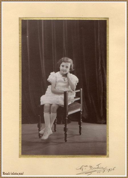 Gujan-Mestras autrefois : Portrait d'enfant en 1936, ma maman (Ginette Pédemounou qui deviendra épouse de Almeida), Bassin d'Arcachon (photo de famille, collection privée)