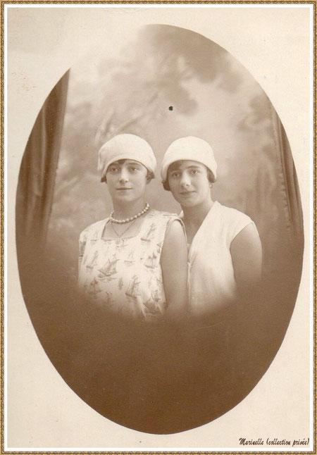 Gujan-Mestras autrefois : Portrait de jeunes filles en 1928, ma grand-mère maternelle, Marie-Thérèse Lagauzère (à l'époque) à gauche (photo de famille, collection privée)
