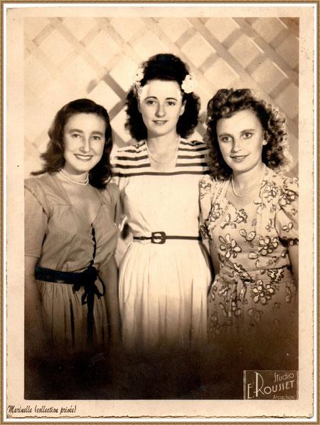 Gujan-Mestras autrefois : Portrait de jeunes filles en 1948 avec, au centre, ma maman (Ginette Pédemounou qui deviendra, 2 ans plus tard, épouse de Almeida), Bassin d'Arcachon (photo de famille, collection privée)