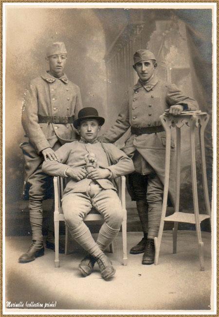 Gujan-Mestras autrefois : Soldats guerre 14-18 avec mon oncle, Armand Lagauzère (debout, à droite sur la photo), Bassin d'Arcachon (photo de famille, collection privée)