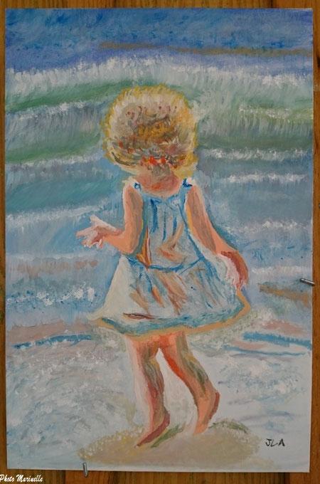 """JLA Artiste Peintre - """"Fillette au bord de la mer"""" 031 - Peinture sur toile"""