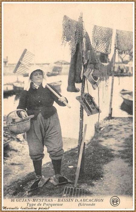 Gujan-Mestras autrefois : Parqueuse, Bassin d'Arcachon (carte postale, collection privée)