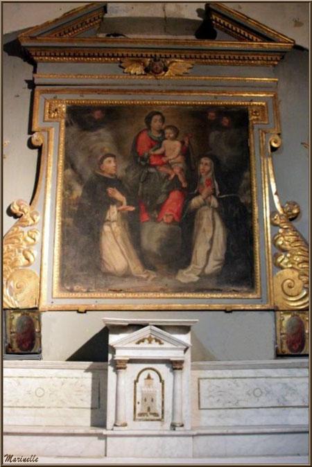 """Autel latéral droit avec tableau """"Donation du Rosaire"""" à l'église Saint Sébastien - Goult, Lubéron - Vaucluse (84)"""