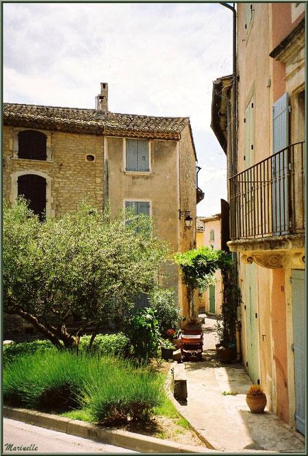 Jardinet et maisons à côté de l'ancien Bureau de Poste - Goult, Lubéron - Vaucluse (84)