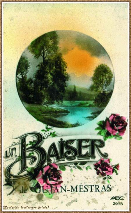 """Gujan-Mestras autrefois : Carte postale """"Un baiser de Gujan-Mestras"""", Bassin d'Arcachon (carte postale, collection privée)"""