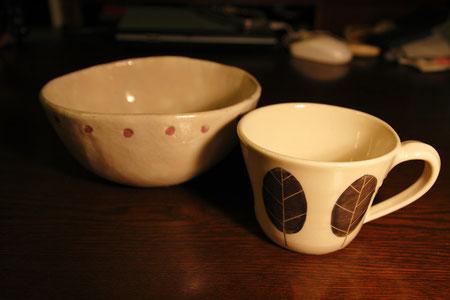 益子焼の丼とマグカップ