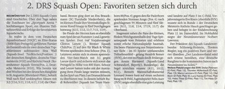 Artikel im Holsteinischen Courier zu den 2. DRS Squash Open