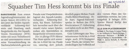 Holsteinischer Courier - 1. Jugendrangliste SVSH/HHSV 2011/2012