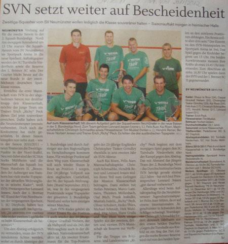 Saisonvorbericht 1. Mannschaft 2. Bundesliga 2011/2012 - Holsteinischer Courier, 07.10.11