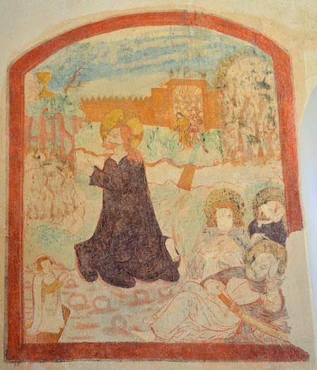 Freigelegtes Wandbild an der Nordseite der Kirche (Foto: Martin Domann)