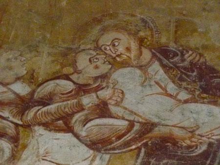 Nohan-Vic, le baiser de Judas, fresque du XIIè