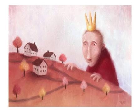 Ilustración de Rey observando su pueblo en miniatura