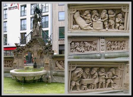 der Heinzelmännchenbrunnen in Köln - die Reliefs zeigen die Heinzelmännchen in Aktion