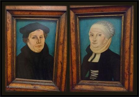 So hängen sie im Landesmuseum. Martin Luther war damals 45 Jahre alt. Ein altes Sprichwort: Hinter jedem erfolgreichen Mann steht eine kluge Frau