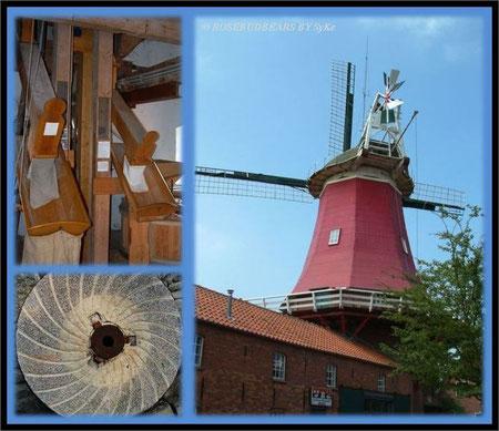 Mühle in Greetsiel - wer gern steile Treppen steigt kann hinauf klettern und zur zweiten Mühle hinüber schauen - und sich hinterher im Café stärken