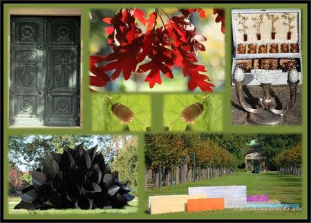 """vor der Tür des Mausoleums: die """"Farnblüte"""" mit Zauberkraft von Elena Glazunova und Dagmar Schmidt - ein unbekannter Koffer - weiter entfernt die """"Farbe als florale Essenz"""""""