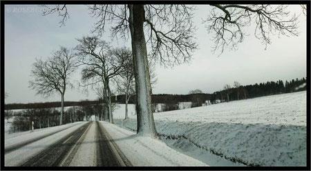 auf ins Erzgebirge - aber langsam, denn die verschneiten Straßen sind glatt