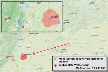 Ungefähre Flugbahn des Meteor bei Tscheljabinsk vom 15. Februar 2013, sowie mögliche Bruchstückfundorte (wikipedia, miko0001)