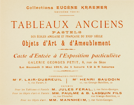 Original 1913 Paris Art Auction Invitation