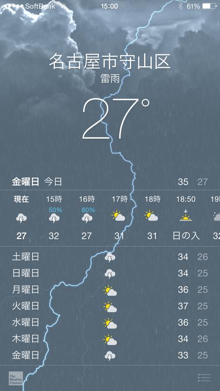 実験開始から2時間経過。天気予報は雷雨の表示が。雨は降りませんでしたが・・・
