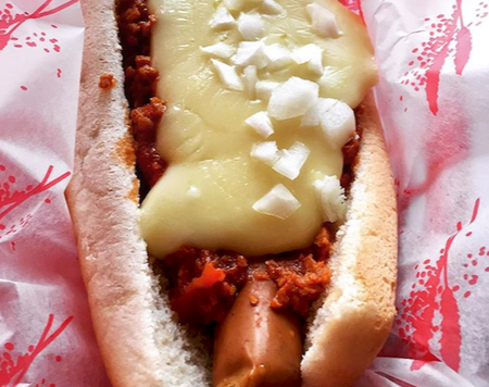 vegan chili cheese hot dog from beelzebab
