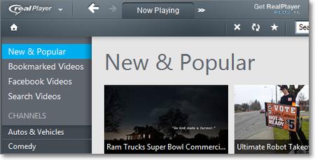 Окно веб-браузера Real Player