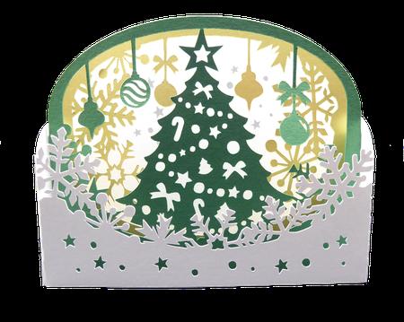 Carte diorama sapin de noël - carte pop-up joyeux Noël haut de gamme