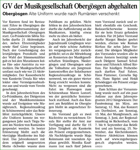Oltner Tagblatt 6.2.2012