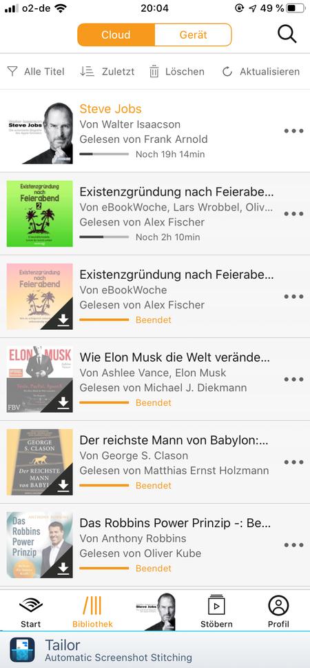 Screenshot von Audible und meinen aktuellen Hörbüchern