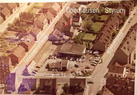 Oberhausen - Styrum, Luftaufnahmen, Josefstrasse, Tersteegenstrasse, Nohlstrasse.  Foto aus den 50er Jahren, Foto: Birgitta Kuhlmey