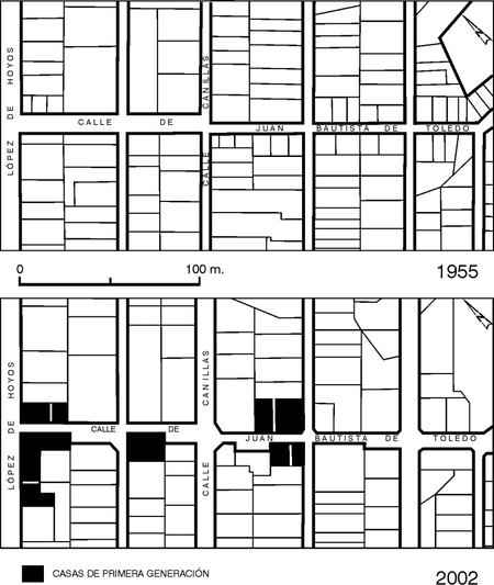 Figura 3. Cambios morfológicos en la red arterial, el parcelario y la edificación.