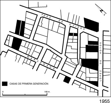 Figura 2. Contacto entre parcelaciones, en 1955, y edificios supervivientes hoy.