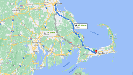 Zum Vergrößern in die Rundreise USA Ostküste klicken (Kartendaten © 2021 Google)