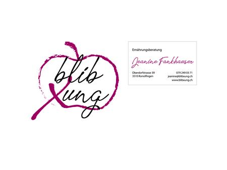 """Wir gestalteten Logo und Visitenkarte für die Ernährungsberatung """"blib xung""""."""