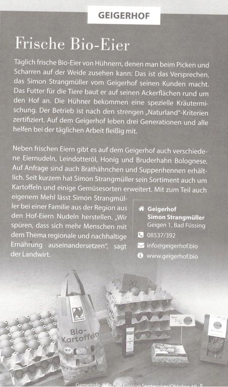 Bericht über den Geigerhof im Mitteilungsblatt der Gemeinde Bad Füssing - September/Oktober 2019